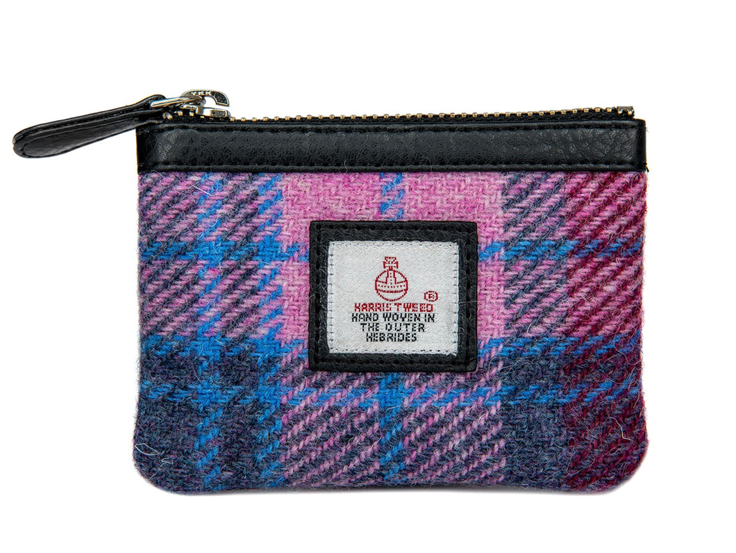 Harris Tweed Coin Purse-Pastel Pink Tartan