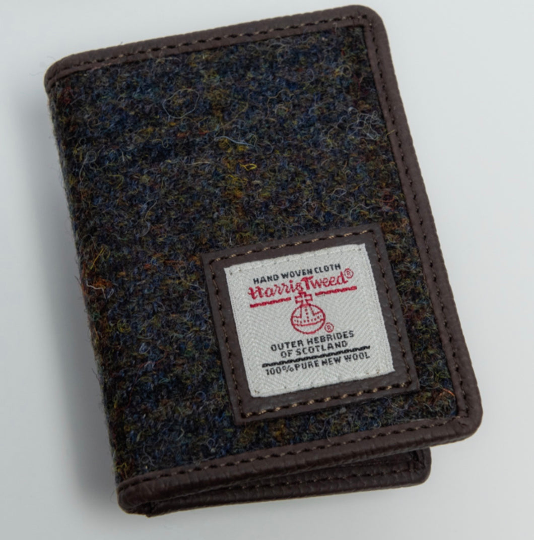 Harris Tweed Card Holder-Brown/Green Tartan