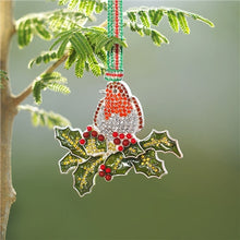 Load image into Gallery viewer, Newbridge Coloured Stones Robin on Holly Decoration