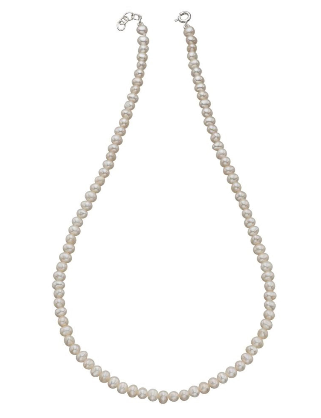 Silver - Elements White Freshwater Pearl Single Row Necklace