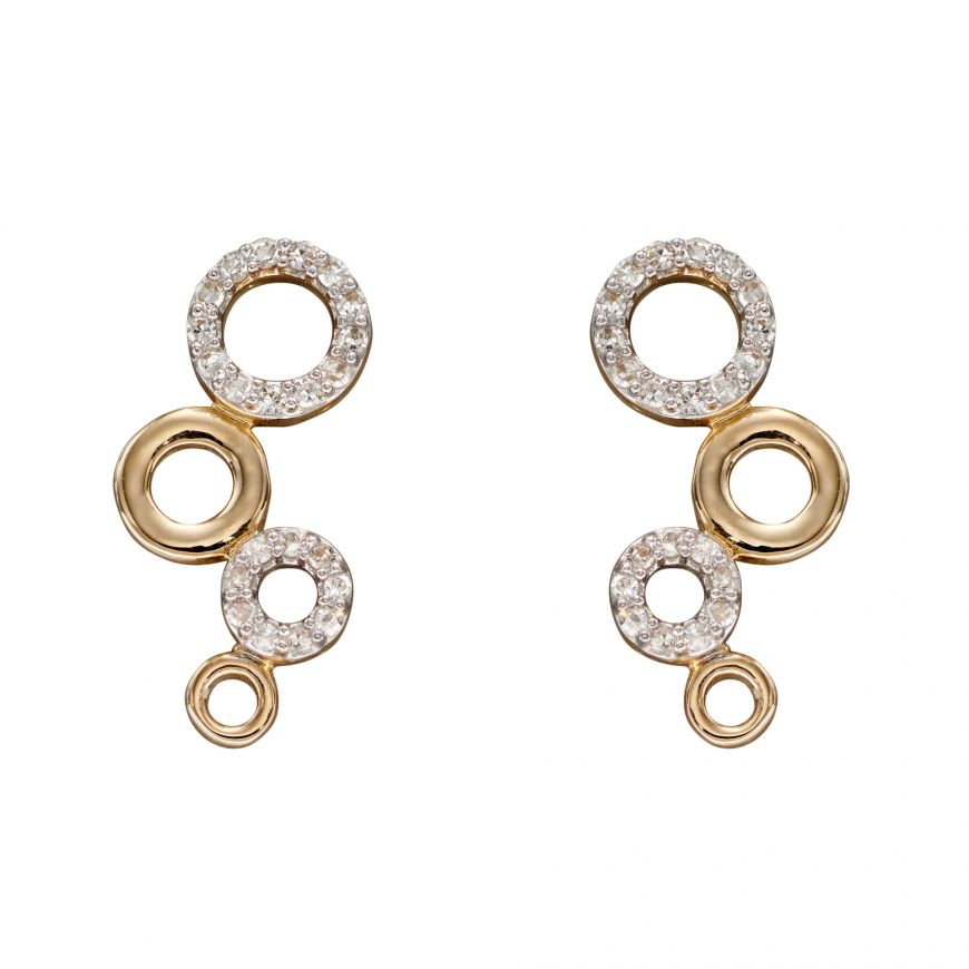 9ct Yellow Gold Diamond (0.09ct) Multi Circles Earring