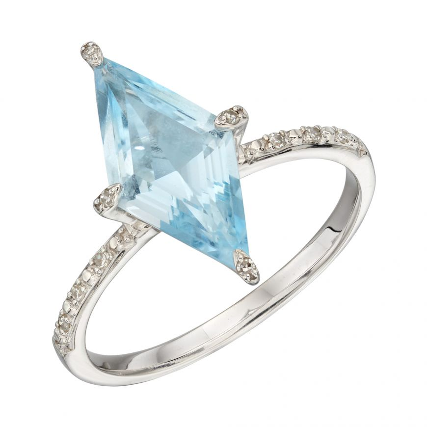 9ct White Gold Blue Topaz and Diamond Kite Ring (Size 54-N)