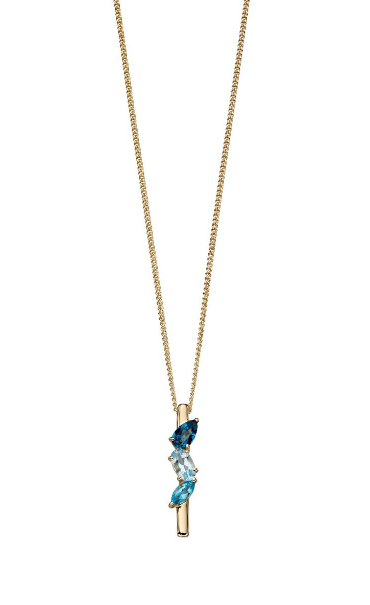 9ct Yellow Gold Multi Blue Topaz Bar Pendant