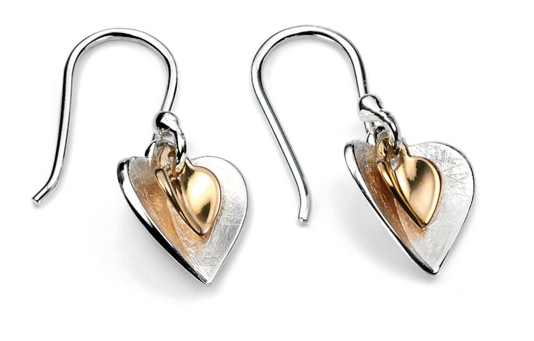 Silver & Gold Plated Double Heart Earrings