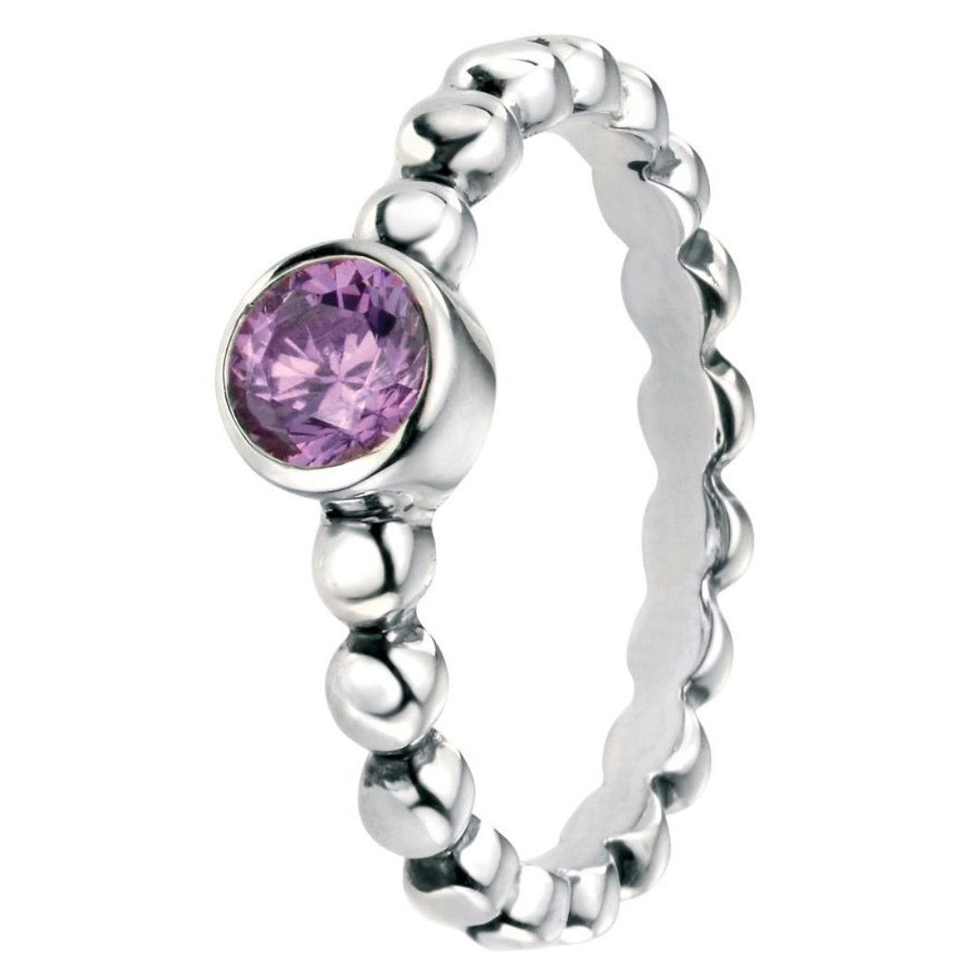 Silver Amethyst Coloured CZ Ball Ring