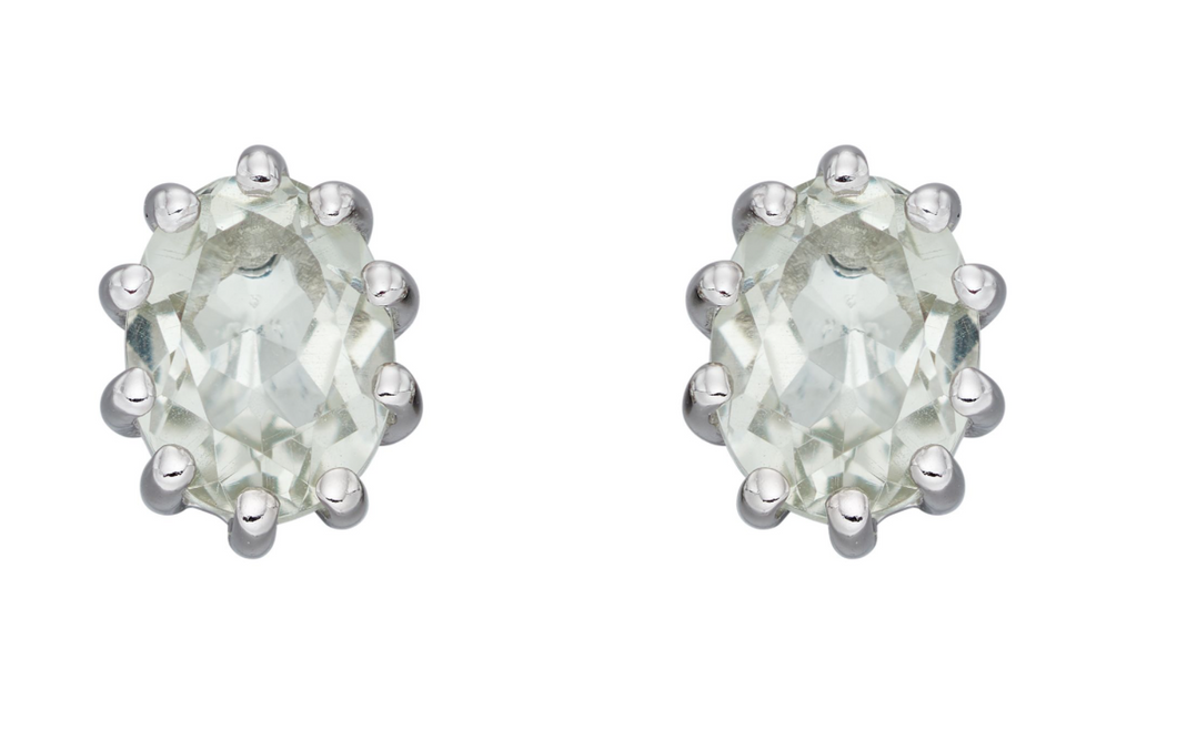 Silver Green Amethyst Stud Earrings