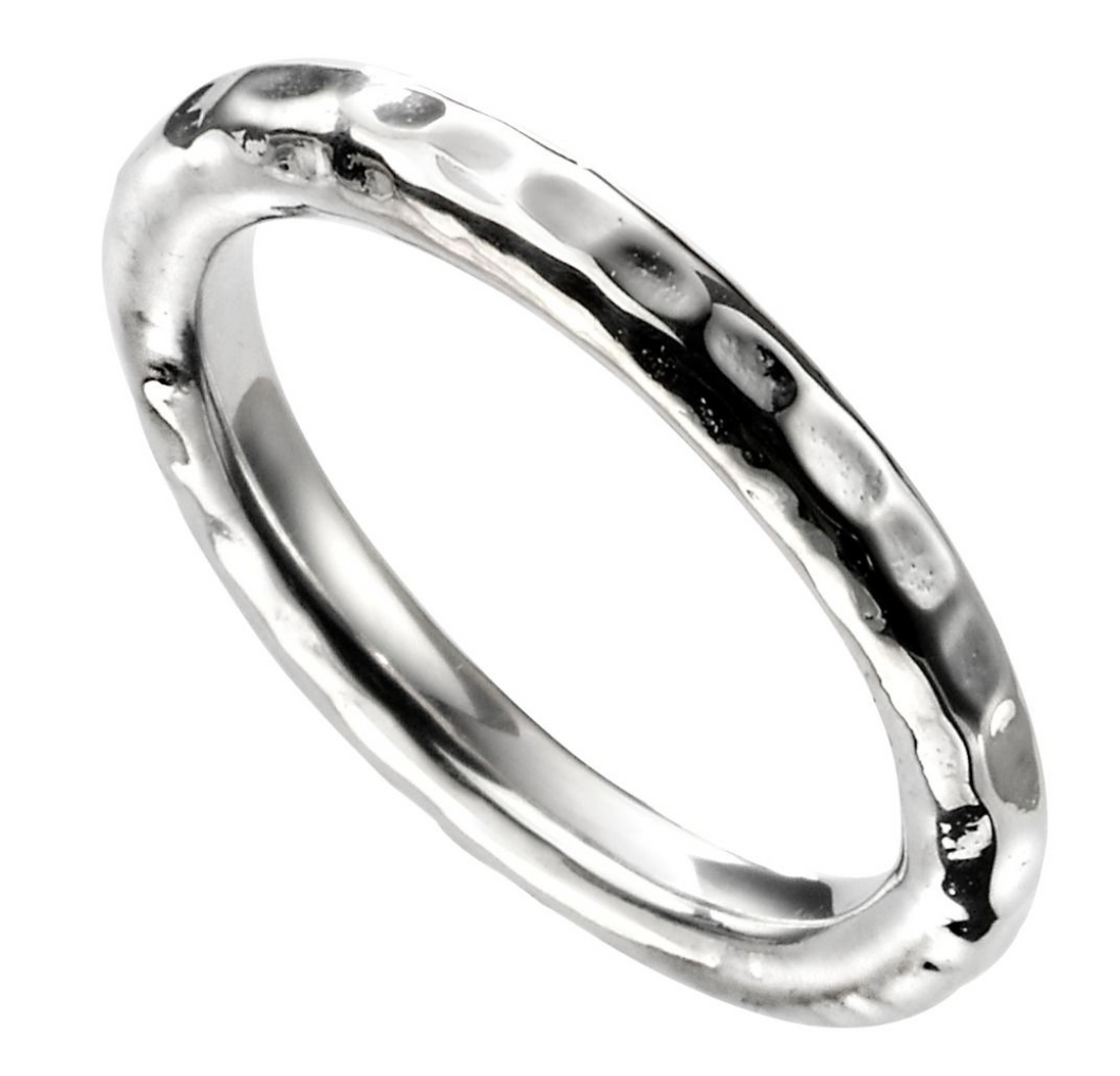 Silver Hammered Band Ring (Size 58)