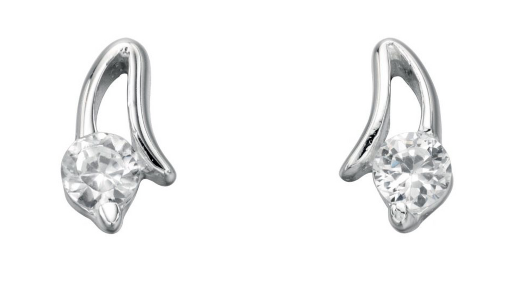 Silver Clear CZ Open Setting Stud Earrings