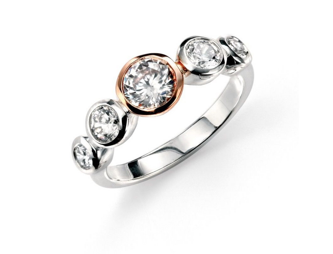 Silver Rose Gold Plated Clear CZ Ring (Size 54)