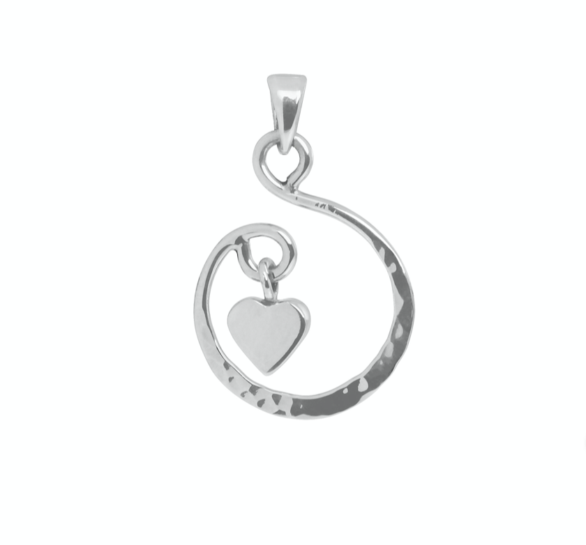 Tianguis Jackson Silver Small Hammered Heart Pendant