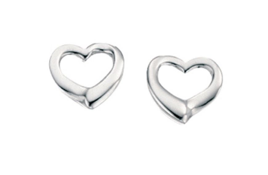 Silver Small Open Heart Stud Earring