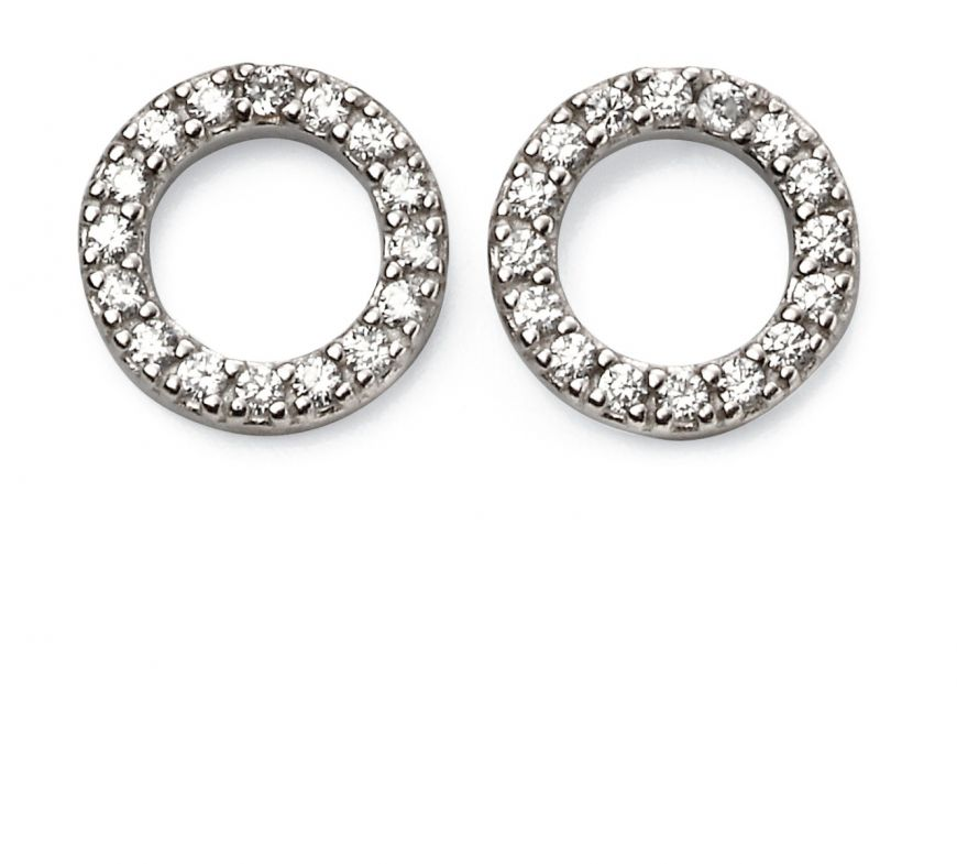 Silver CZ Open Disc Pave Earrings