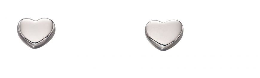9ct White Gold Tiny Heart Stud Earring
