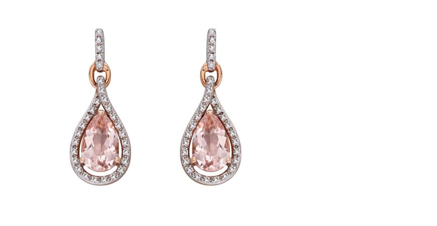 9ct Rose Gold Diamond and Morganite Tear Drop Shape Earring