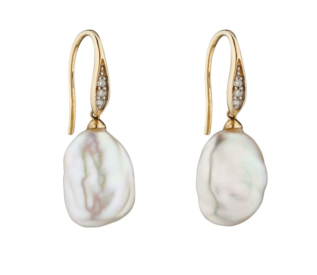 9ct Baroque Pearl and Diamond Drop Earring