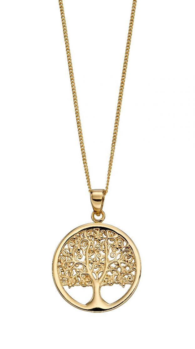 9ct Yellow Gold Tree of Life Pendant and Chain