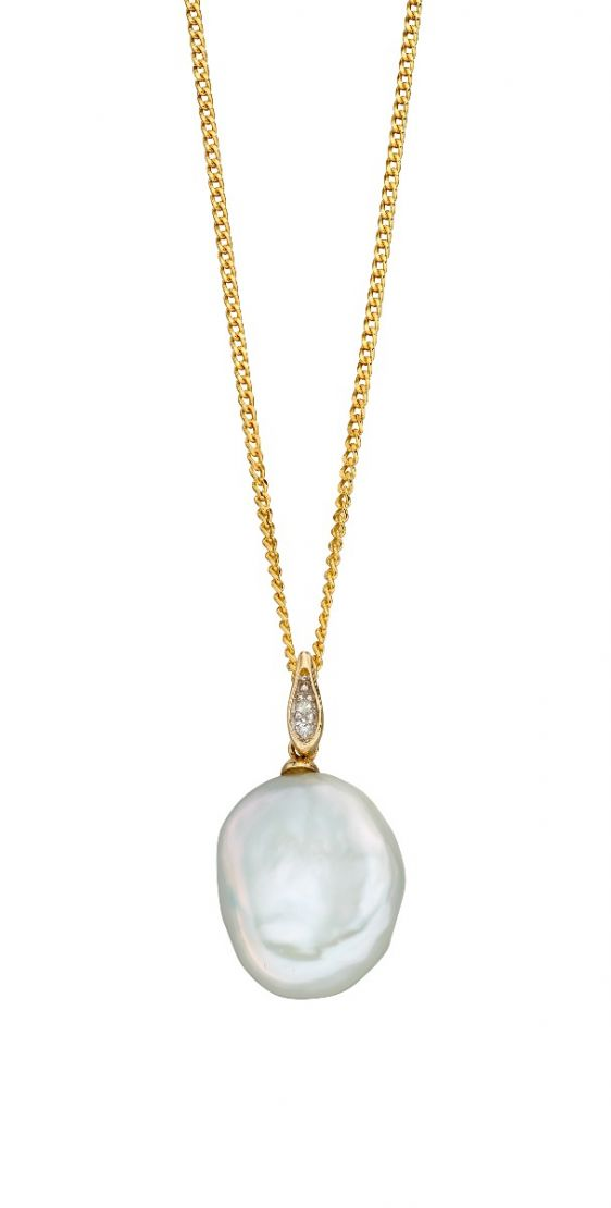 9ct Baroque Pearl and Diamond Pendant