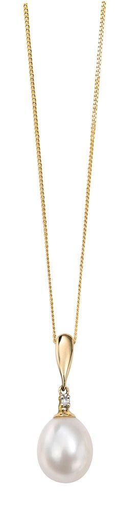 9ct Yellow Gold Diamond and Pearl Drop Pendant