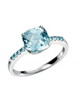 9ct White Gold Blue Topaz Ring (Size 52-L)
