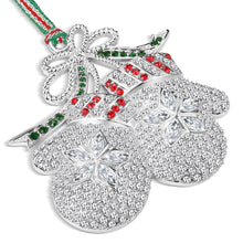 Load image into Gallery viewer, Newbridge Crystal Mittens Christmas Decoration