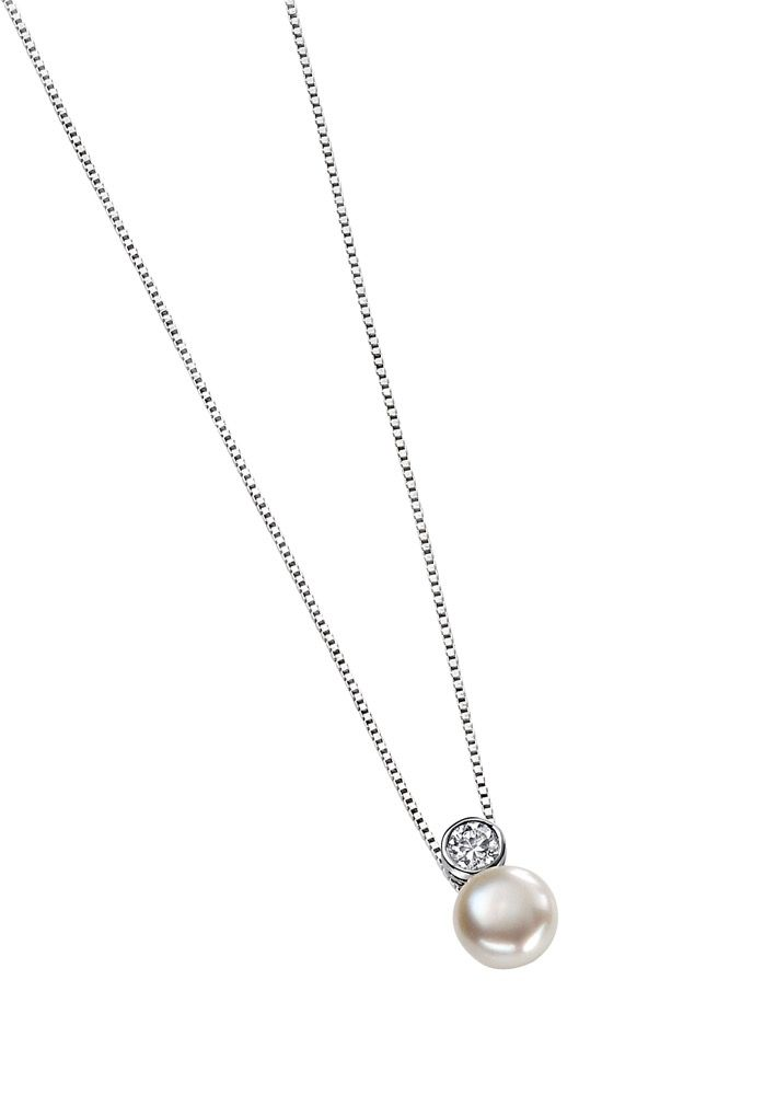 Silver CZ and White Pearl Pendant