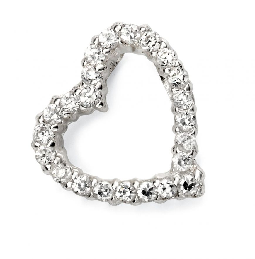Silver Pave Open Heart Pendant