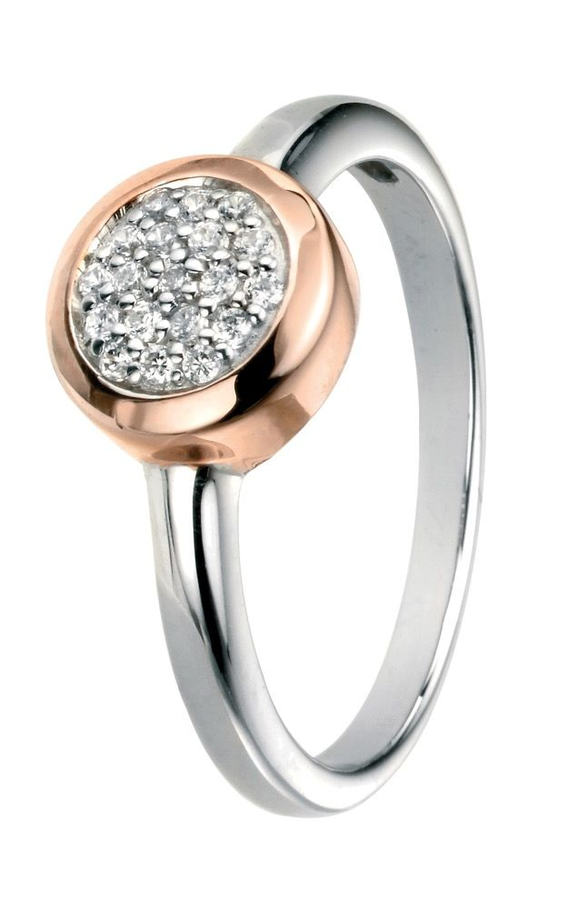 Silver Pave Ring with Rose Gold Plating (Size 52 - L)