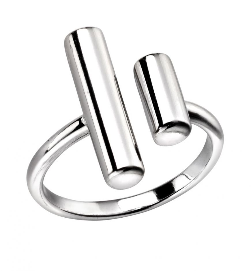 Silver Double Open Bar Ring (Size 54 - N)