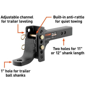 CURT Adjustable Trailer Hitch Ball Mount (2
