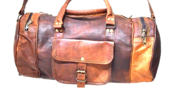 "handmade leather bags |  24"" Brown Leather Harrison Travel Bag 