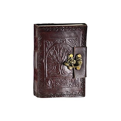 Leather Celtic tree of life book of shadows blank spell book Wicca - cuerobags
