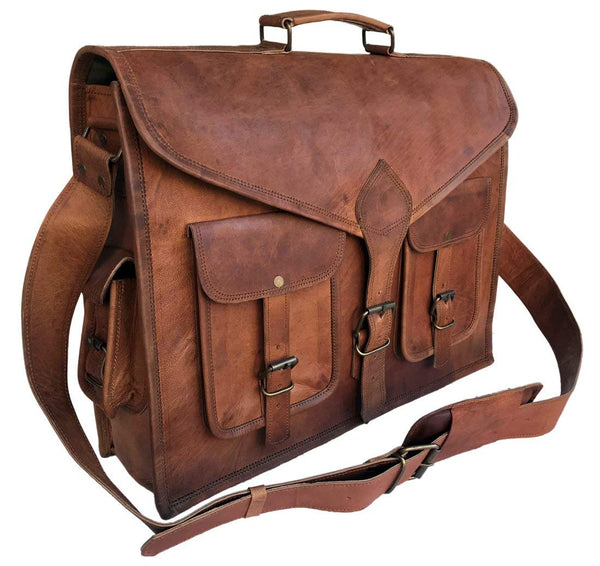 Cuero 18 Inch Rustic Vintage Leather Messenger Bag Laptop Bag Briefcase Satchel Bag - cuerobags