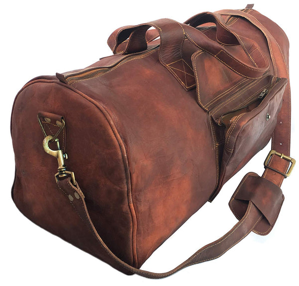 24 Inch Rustic Goat Real Leather Duffel bag | Vintage Leather Bag Travel Bag | Overnight Weekend Holdall Bag | Brown Large Bag Luggage Bag