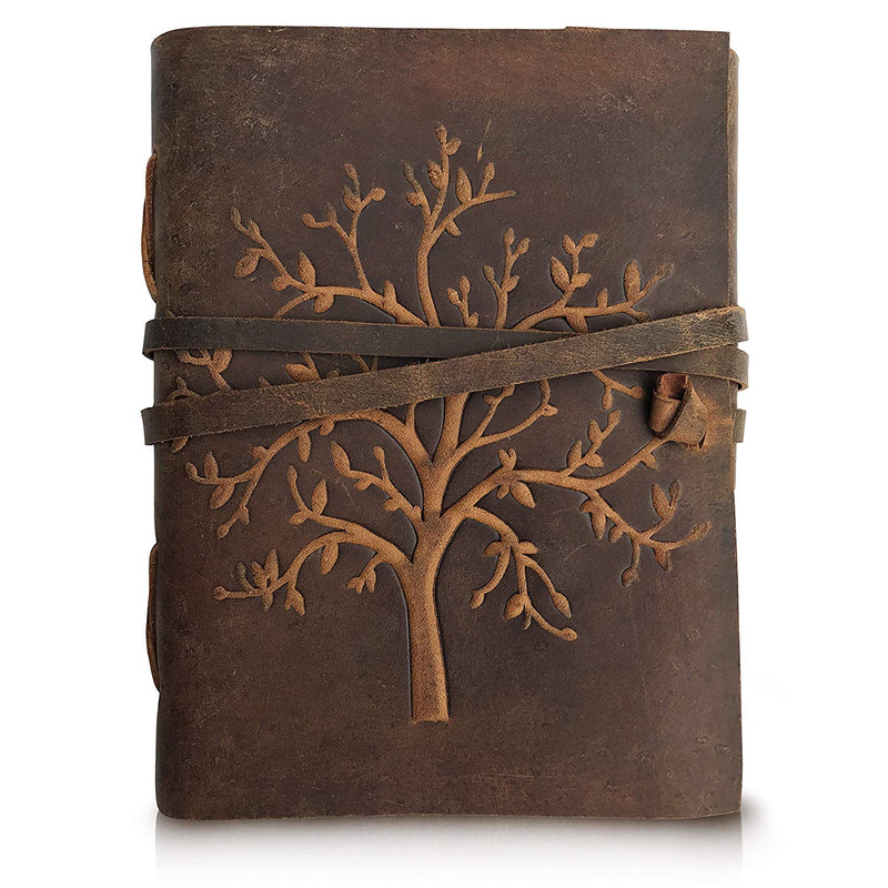 LEATHER JOURNAL TREE OF LIFE – WRITING NOTEBOOK HANDMADE LEATHER BOUND DAILY NOTEPADS FOR MEN & WOMEN BLANK PAPER LARGE 8 X 6 INCHES – BEST GIFT FOR ART SKETCHBOOK, TRAVEL DIARY & JOURNALS TO WRITE IN - cuerobags