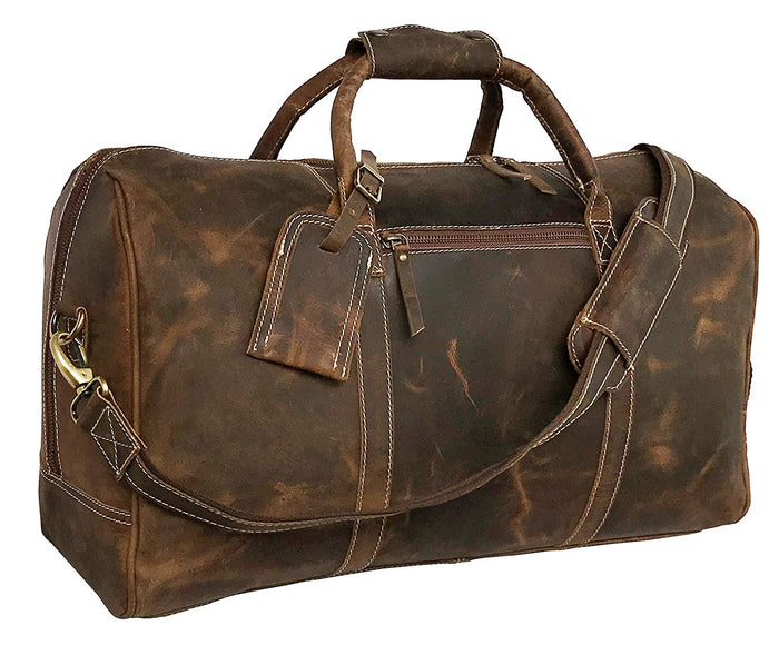 24 Inch Genuine Leather Duffel | Travel Overnight Weekend Leather Bag | Sports Gym Duffel for Men (21 inch) - cuerobags