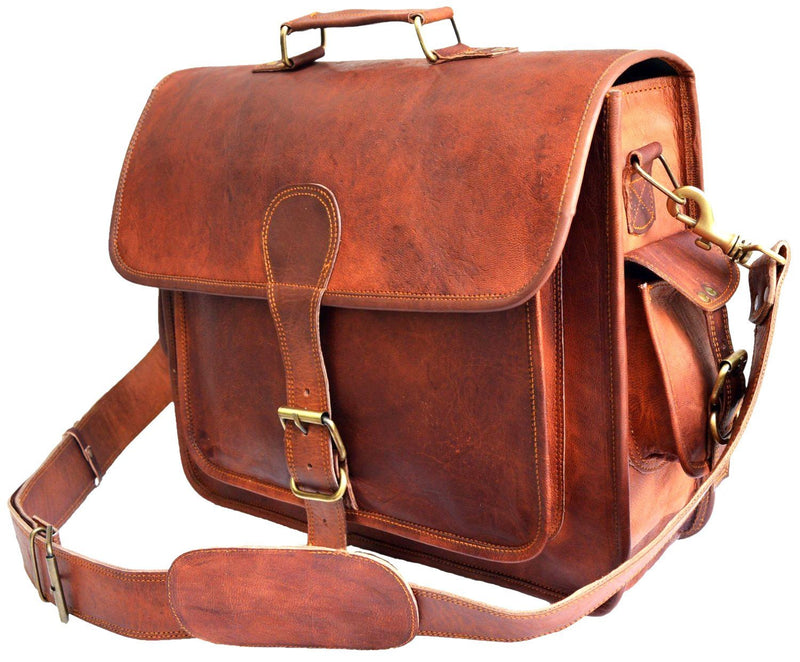 ONE LARGE POCKET DAKOTA BROWN LEATHER BAG | 16″ W x 12″ H x 5″ D - cuerobags