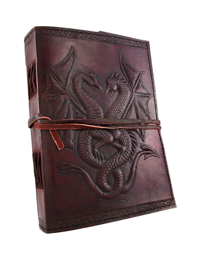 Embossed leather dual dragons 120 leaf journal - cuerobags