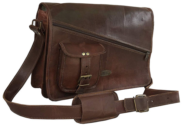 Leather Messenger Bags For Men Women Men's Briefcase Laptop Bag Best Computer Shoulder Satchel School Distressed Bag (11″ X 15″) - cuerobags