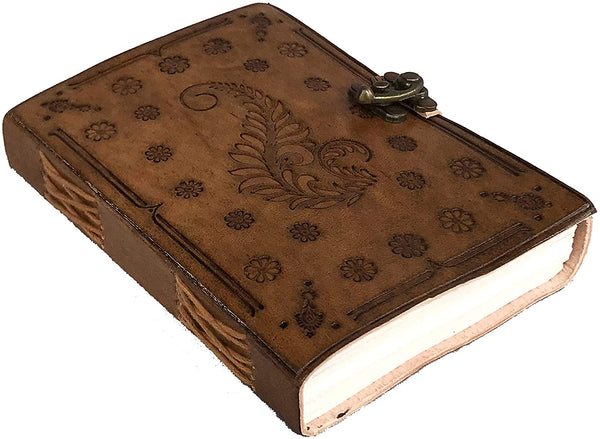 Leaf Embossed Antique Leather Journal