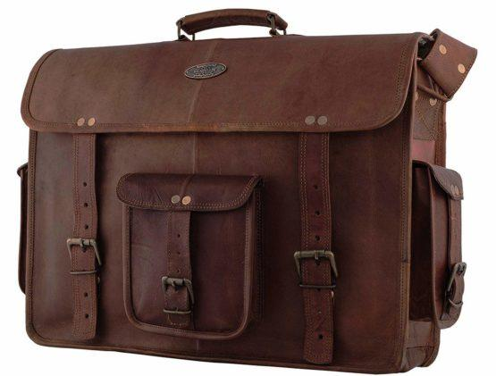 18 Inch Vintage Handmade Leather Messenger Bag for Laptop Briefcase Satchel Bag - cuerobags