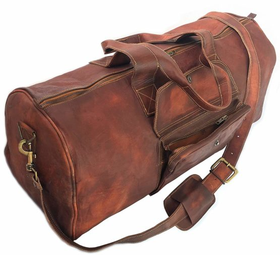 24 Inch Rustic Goat Real Leather Duffel bag Vintage Leather Bag Travel Bag Overnight Weekend Holdall Bag Brown Large Bag Luggage Bag - cuerobags