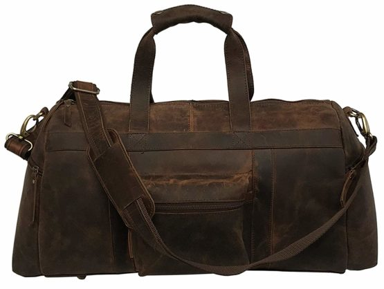 "Genuine Leather Duffel | Travel Carry On Overnight Weekend Leather Bag | Sports Gym Duffel Holdall for Men and women (21"" x 9"" x 10.5"" inches (Brown Color) - cuerobags"
