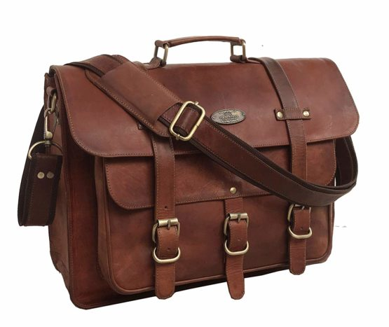 Messenger Bag Vintage Genuine Leather Briefcase Large Satchel Shoulder Bag Rugged Leather Computer Laptop Bag - cuerobags