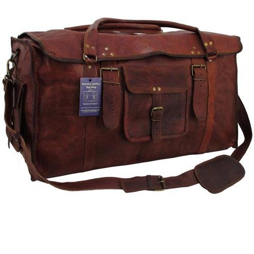 21 Inch Women's Retro Style Carry on Luggage Flap Duffel Leather Duffel Bag - cuerobags