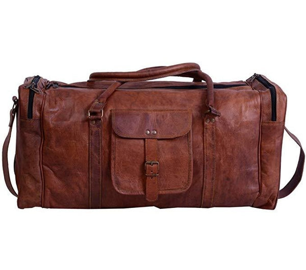 Leather Duffel Bag Large 24 Inch Square Duffel Travel Gym Sports Overnight Weekender Leather Bag for Men and Women