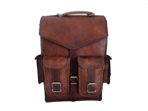 Brown Vintage Leather Backpack Laptop Messenger Bag Rucksack Sling For Men Women (11″ X 15″) - cuerobags
