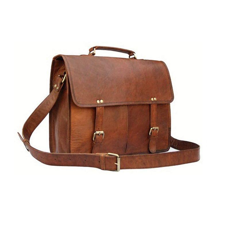 Twin Pocket Laptop Leather Bag