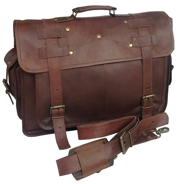 18 Inch Retro Leather Laptop Messenger Bag Office Briefcase College Bag For Women - cuerobags