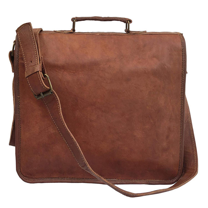 "13"" VINTAGE HANDMADE LEATHER MESSENGER BAG FOR LAPTOP BRIEFCASE BEST COMPUTER SATCHEL SCHOOL DISTRESSED BAG - cuerobags"