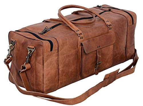 Leather Duffel Bag 28 inch Large Travel Bag Gym Sports Overnight Weekender Bag by Cuero Bags